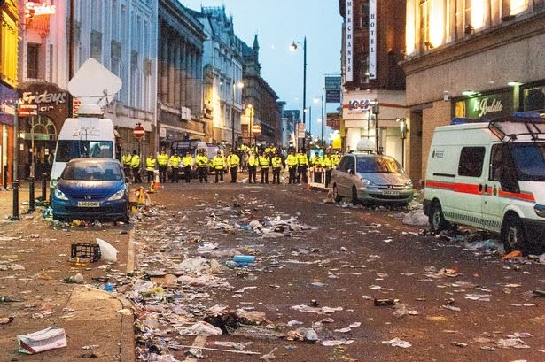 Riot police were called in to try and contain the disorder, but they were vastly outnumbered.
